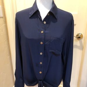 Trina Turk 100% silk navy shirt